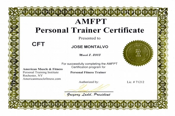 Certificate of Personal Training